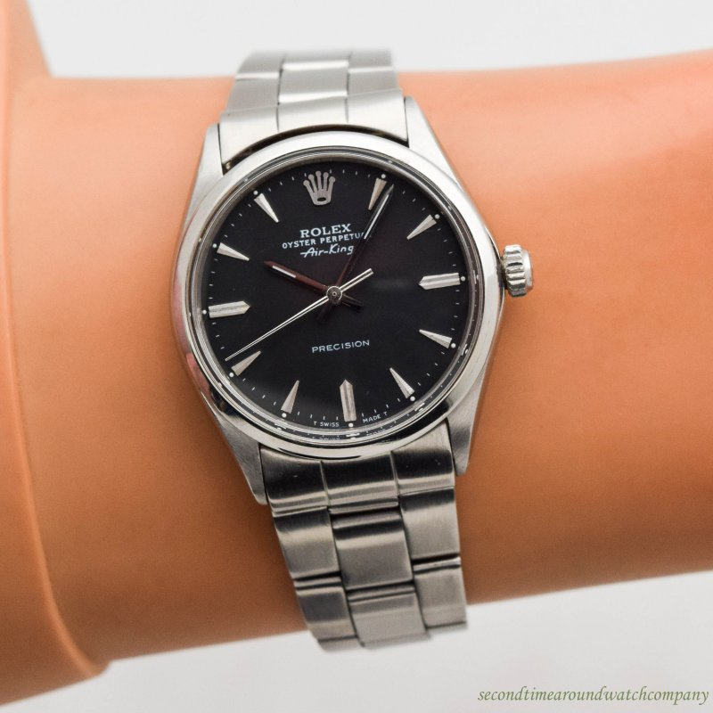 0105ad483818 1967 Vintage Rolex Air-King Ref. 5500 Stainless Steel watch with Original  Black Dial with Applied Steel Beveled Elongated Arrows with Original Rolex  ...